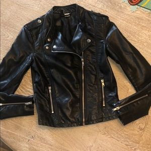 H&M Divided Moto jacket black leather (pleather)